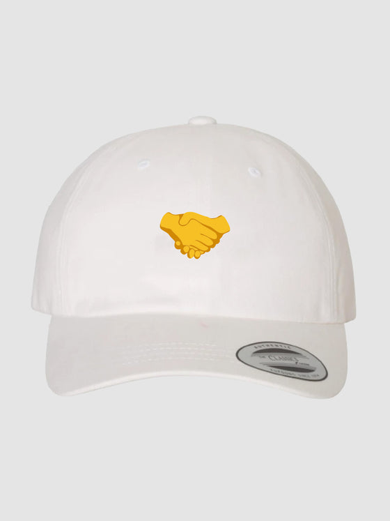 Handshake Dad Hat White