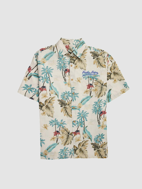 Surprise Friday Beers Embroidered Logo Hawaiian Shirt
