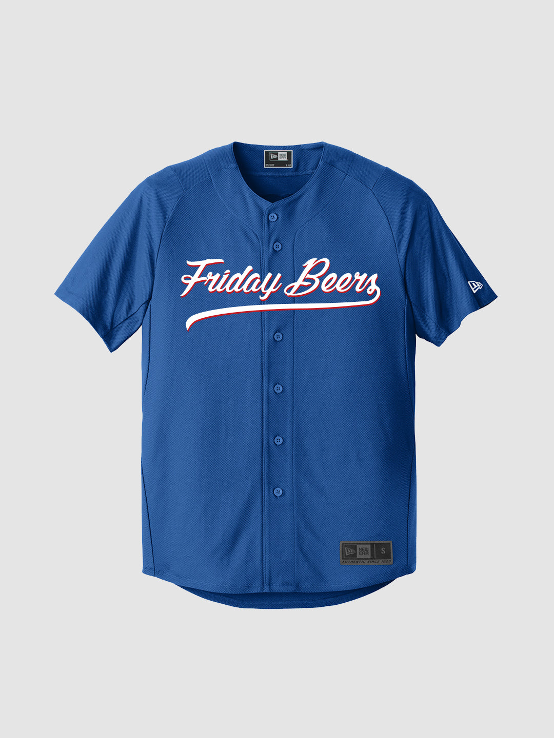 Friday Beers New Era Baseball Jersey Blue