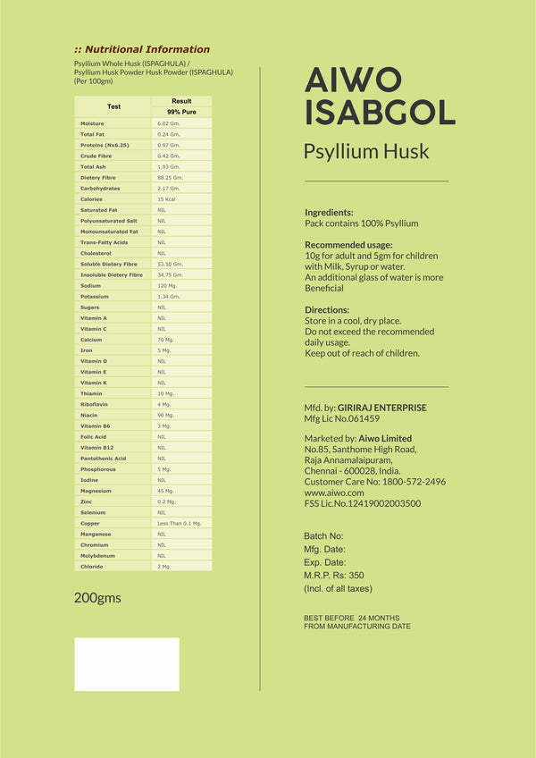 AIWO Isabgol Product information