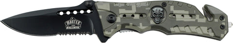 Master USA  MUA010DG Camo Skull Serrated Assisted Black Folding Pocket Knife