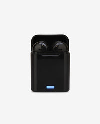 Black Wireless Earbuds and Charging Case