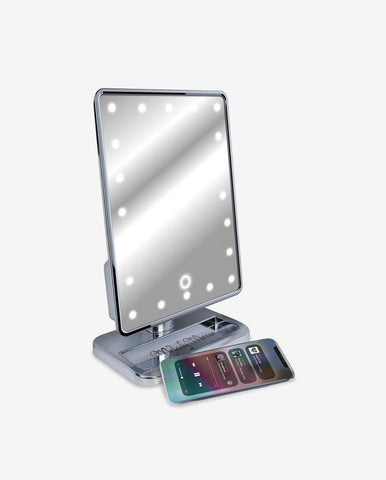 Silver Melody Mirror w/ Bluetooth Speakers & LED Lighting