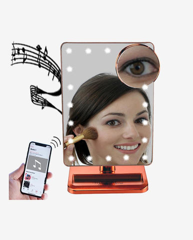 Rose Gold Melody Mirror w/ Bluetooth Speakers & LED Lighting