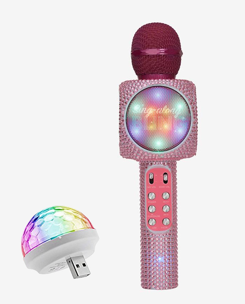 Sing-along Pink Bling Karaoke Microphone & Bluetooth Speaker All-in-one w/ USB Disco Ball