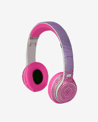 Bluetooth Stereo Pink/Purple Bling Headphones