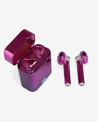 Purple Metallic Wireless Earbuds and Carrying Case