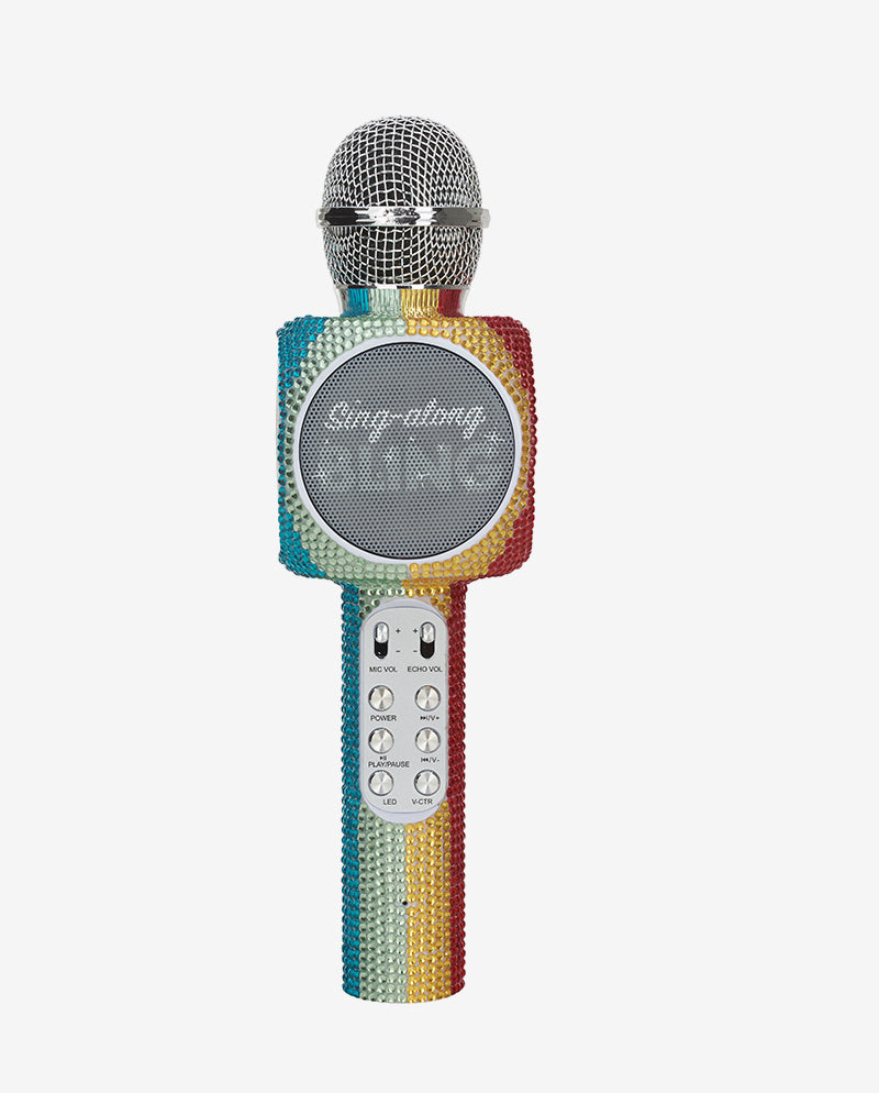 Sing-along Rainbow Bling Karaoke Microphone & Bluetooth Speaker All-in-one