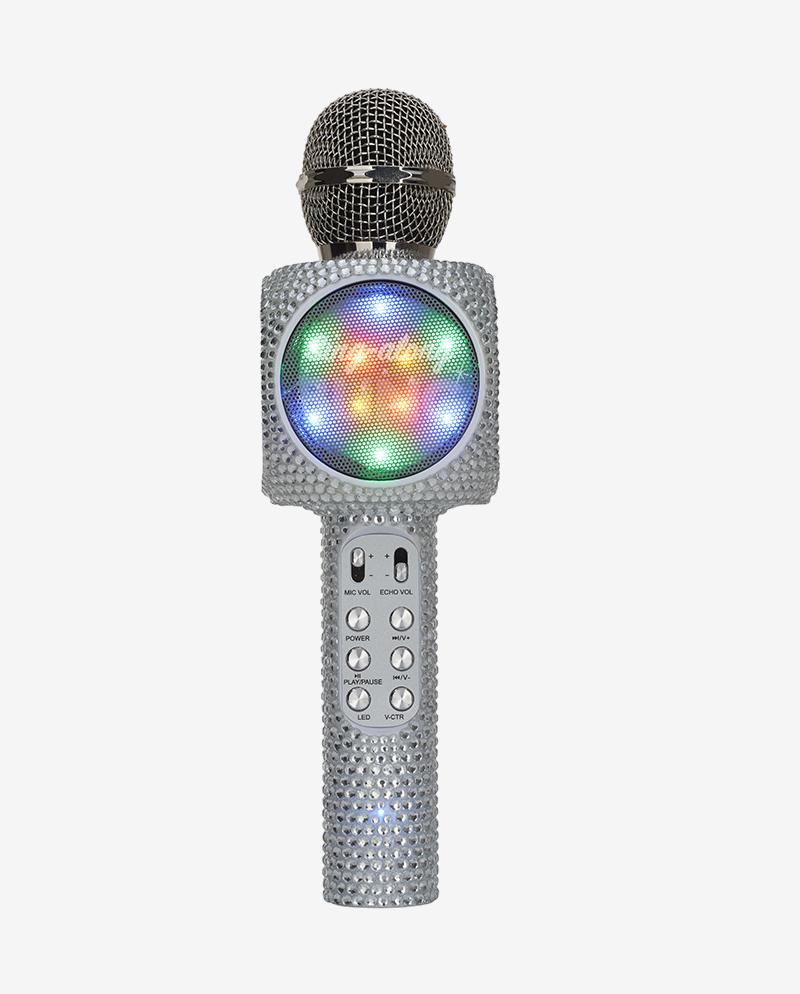 Sing-along Silver Bling Karaoke Microphone & Bluetooth Speaker All-in-one