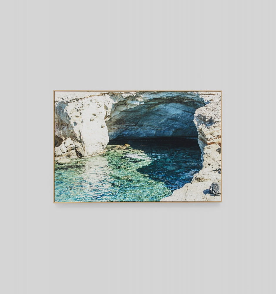 Turquoise Cave Framed Canvas