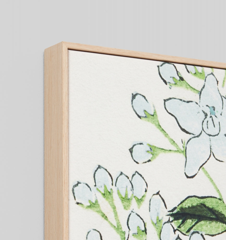 Wildflower Woodblock Blue Framed Canvas