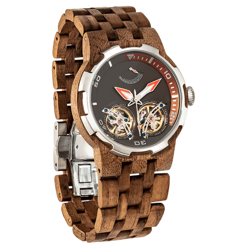 Men's Dual Wheel Automatic Walnut Wood Watch - gutkaufen.net