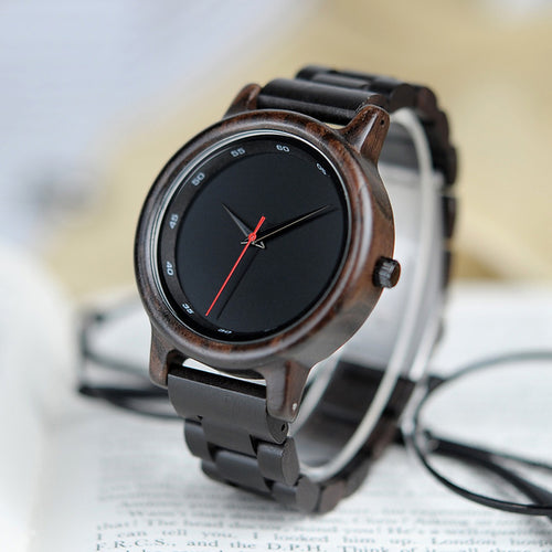 Simple Black All Ebony Wooden Watch - gutkaufen.net