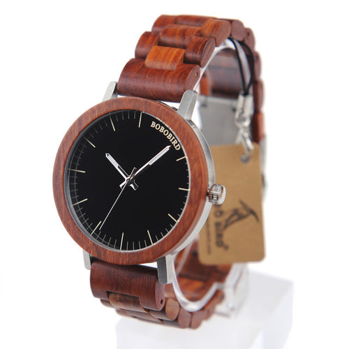M16 Red Sandalwood Analog Watch - gutkaufen.net