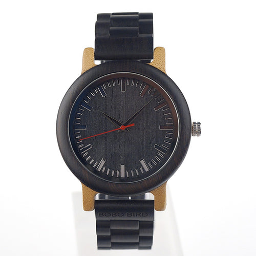 M18 Ebony Wood And Bamboo Analog Watch - gutkaufen.net