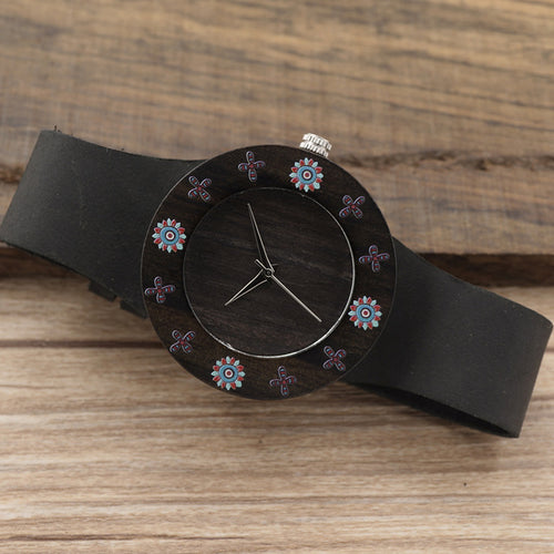 D25 Black Wood Women Dress Watch - gutkaufen.net