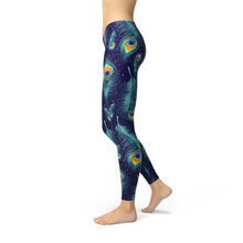 Load image into Gallery viewer, Blue Peacock Feathers Leggings - gutkaufen.net