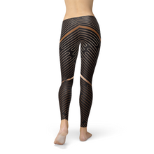 Load image into Gallery viewer, Womens Striped Lines Sports Brown Leggings - gutkaufen.net
