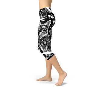 Black Magic Cat Capri Leggings - gutkaufen.net