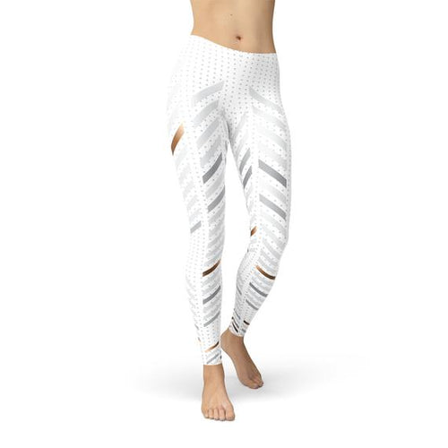 Womens White Stripes Leggings - gutkaufen.net