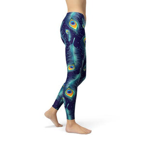 Blue Peacock Feathers Leggings - gutkaufen.net
