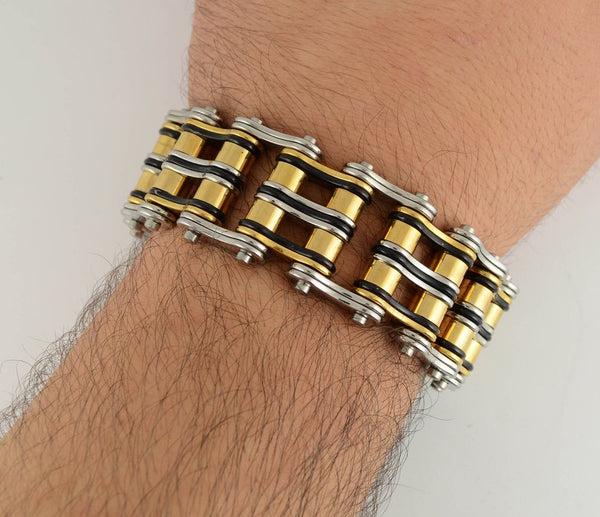 Black Gold and Silver Stainless Steel Chain Bracelet