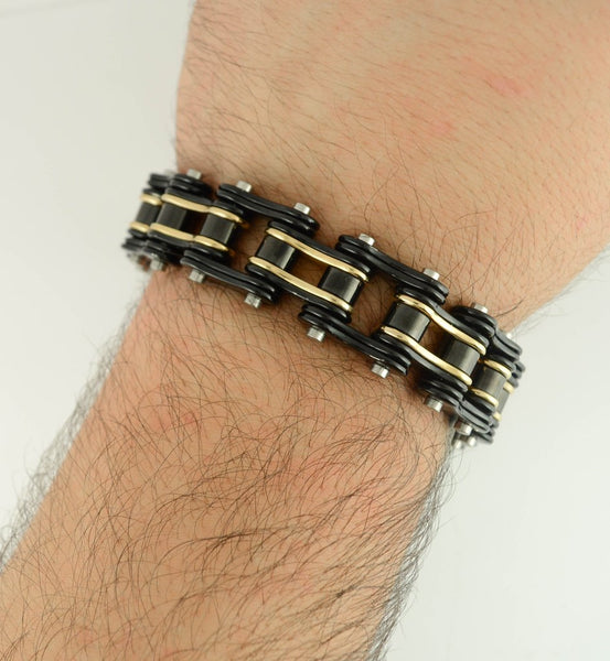 Black and Gold Stainless Steel Chain Bracelet