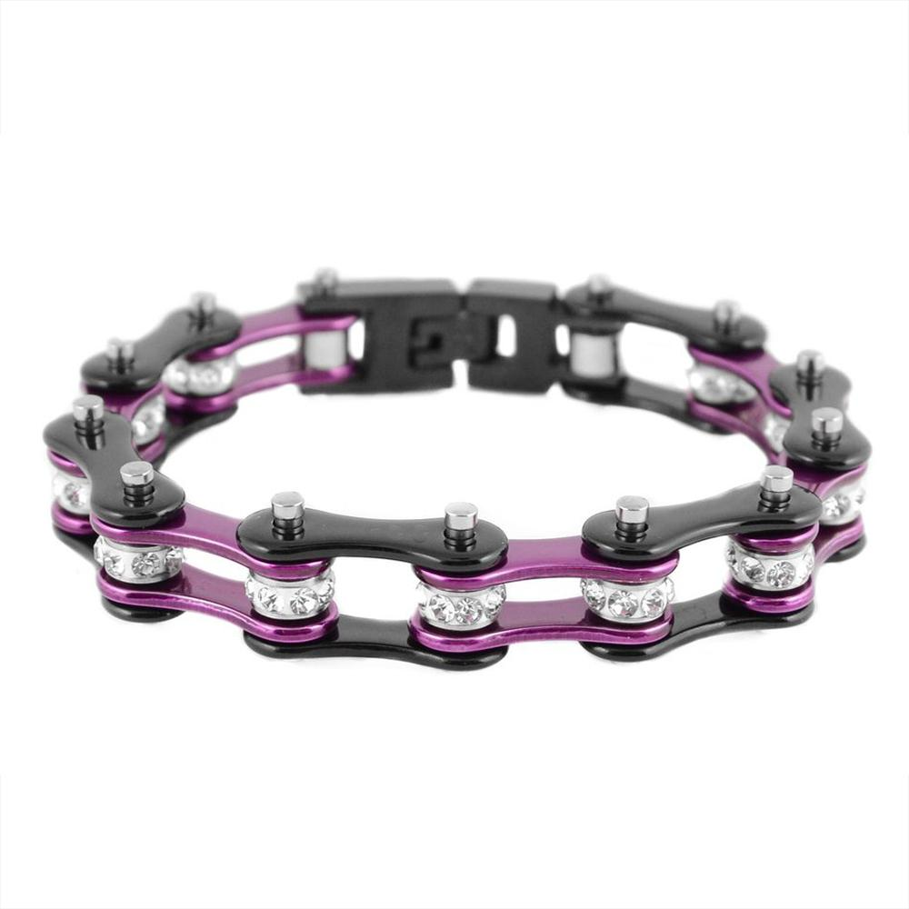 I'm a Survivor Too Purple and Black Stainless Steel Chain Bracelet with Rolling Crystals