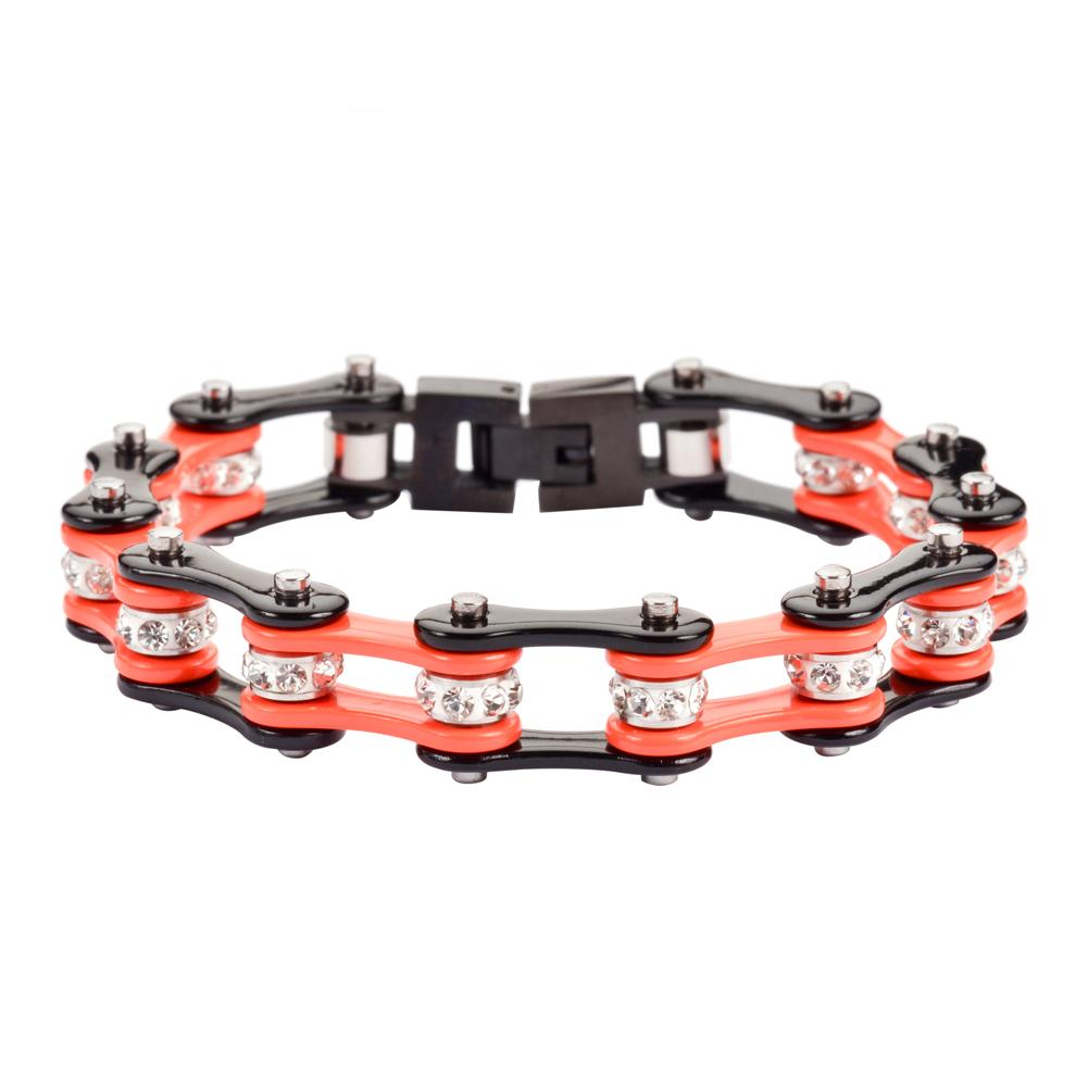 Orange and Black Stainless Steel Chain Bracelet with Rolling Crystals