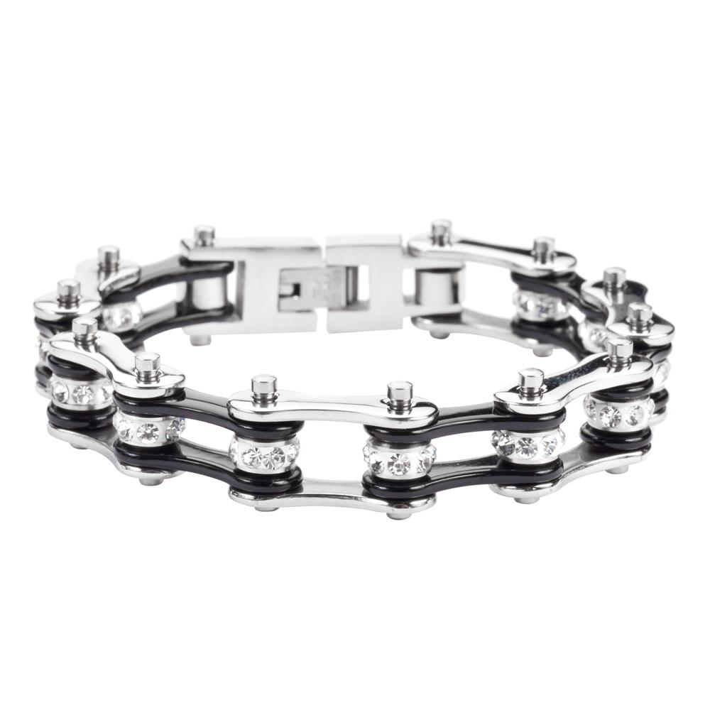 Black and Silver Stainless Steel Chain Bracelet with Rolling Crystal