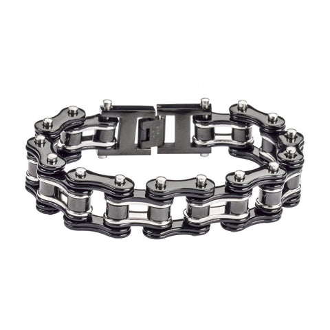 Black and Silver Stainless Steel Chain Bracelet