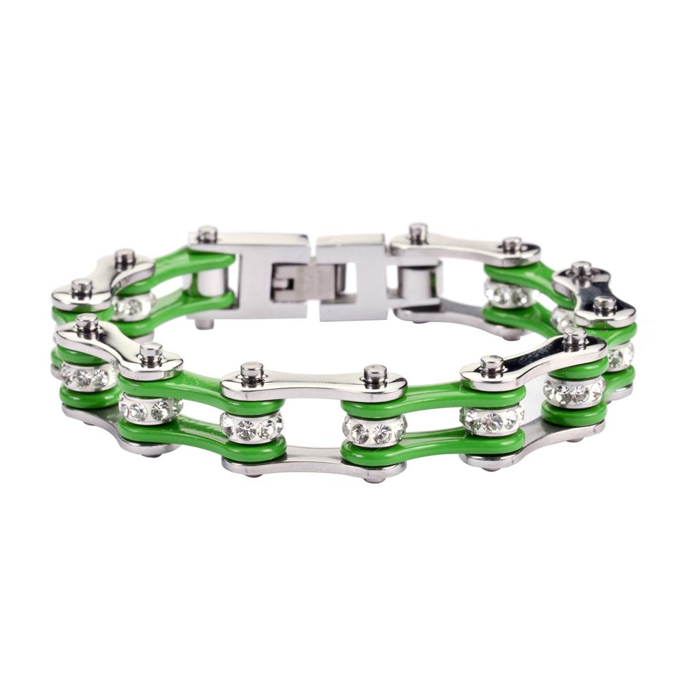 Green and Silver Stainless Steel Chain Bracelet with Rolling Crystals