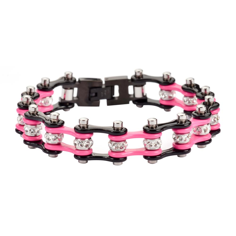 Pink and Black Stainless Steel Chain Bracelet with Rolling Crystals