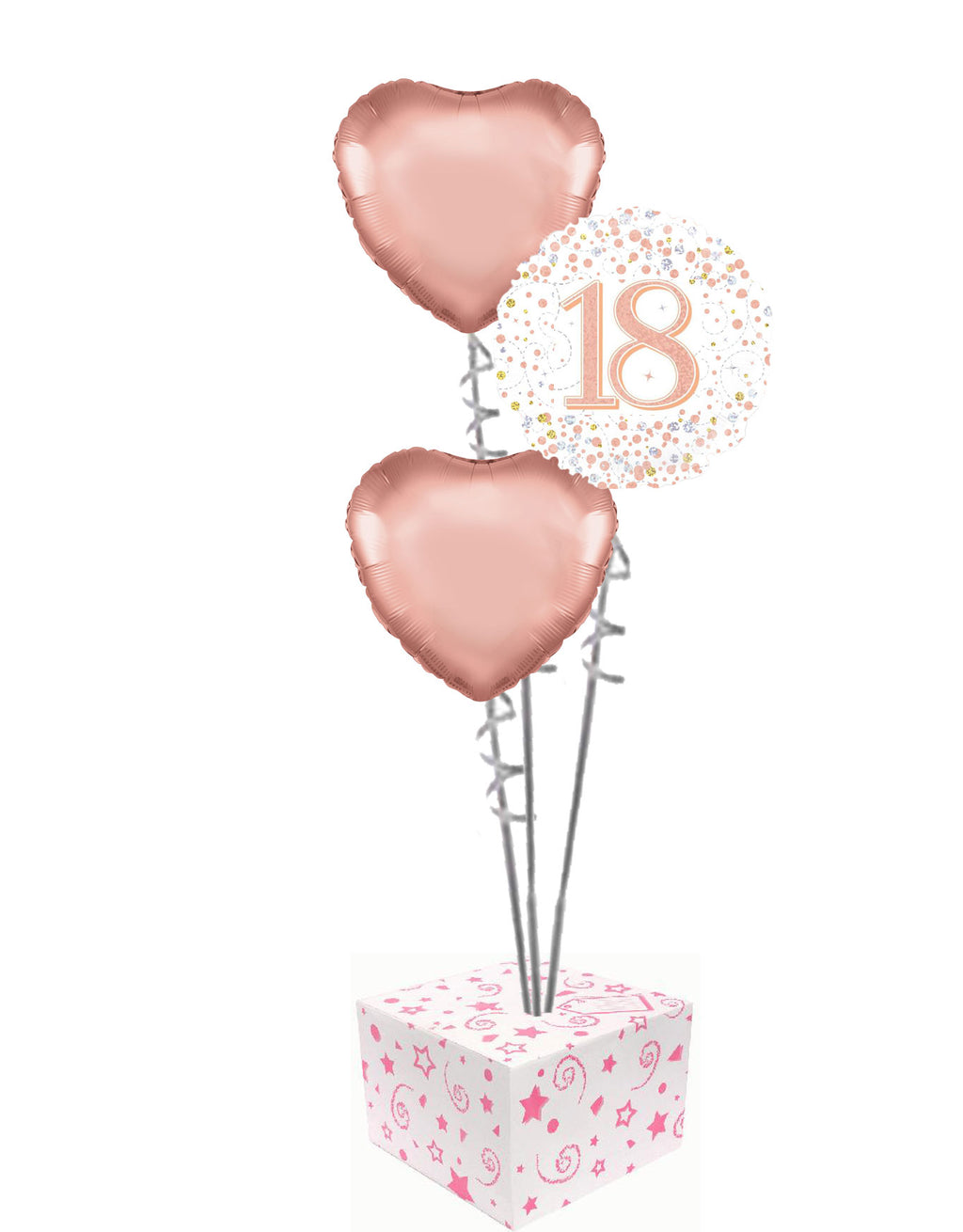 Rose Gold Foil Balloon Bouquet Helium Inflated and Delivered in a Box