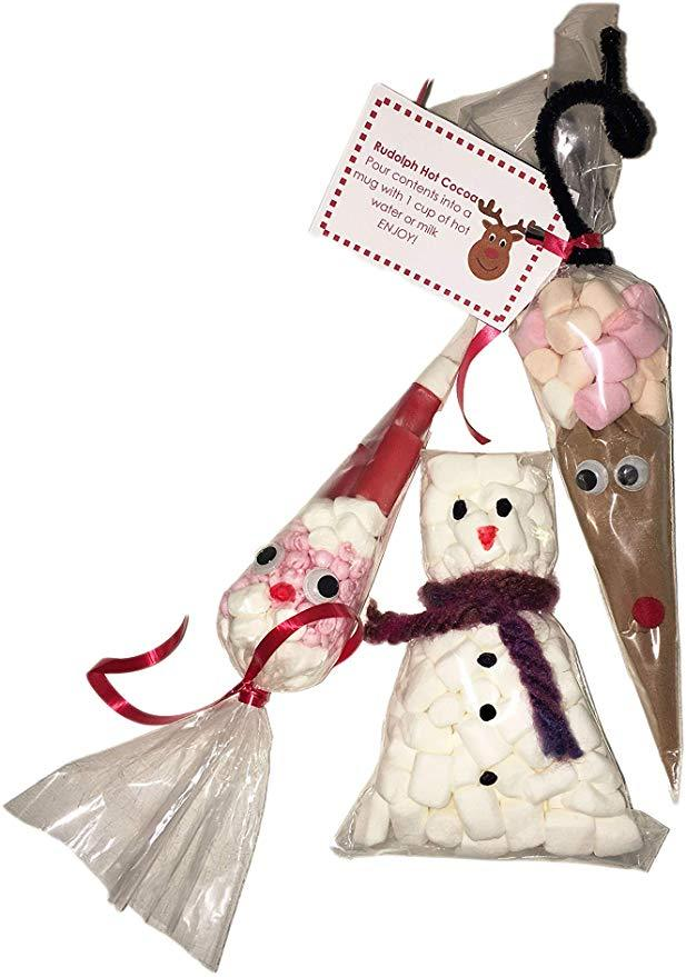 Set of 3 Cute Christmas Character Sweet and Hot Chocolate Cones - Santa Face, Reindeer Hot Chocolate and Snowman