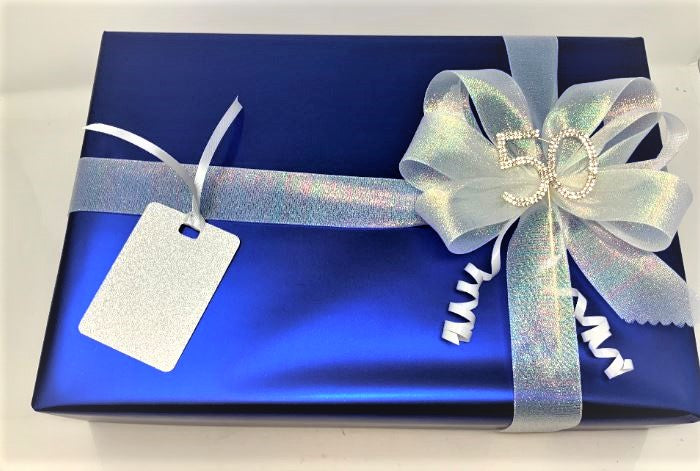 Royal Blue Wrap and Silver Shimmer Ribbon and Bow Pack
