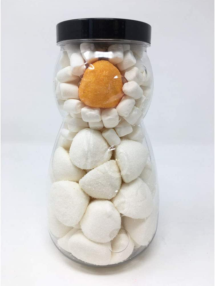 Snowman Jar Filled with White Paintballs and Mallows