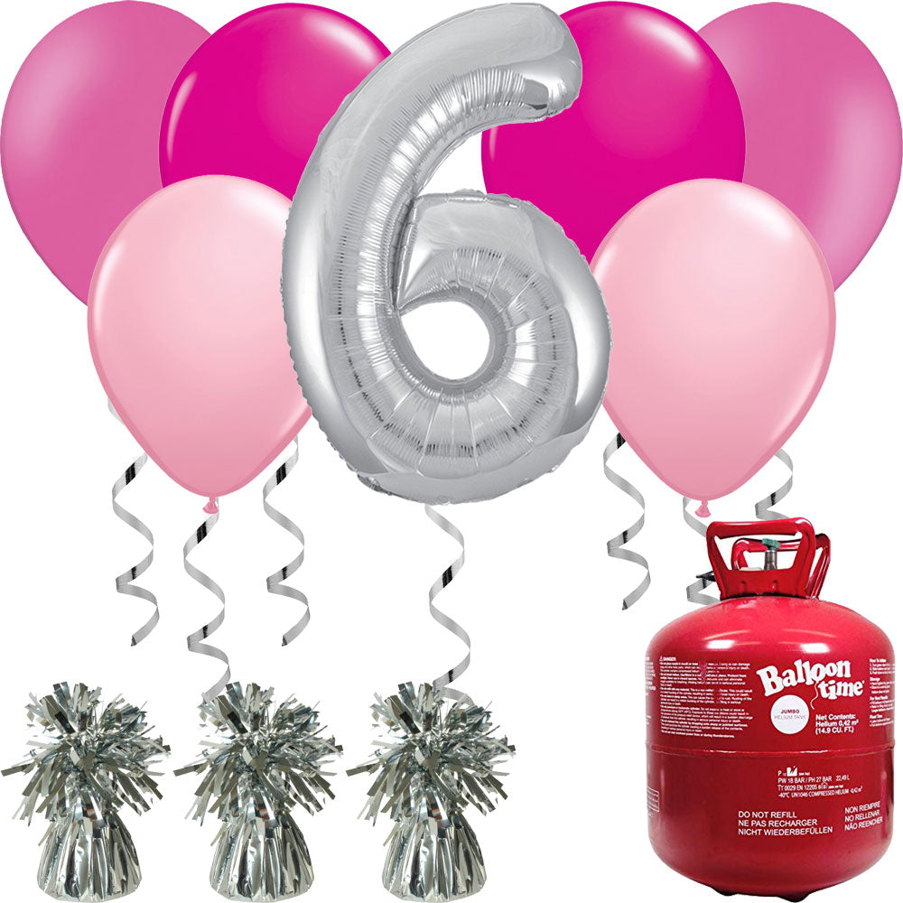 Happy Birthday Silver and Pink Balloons And Helium Gas Canister Pack