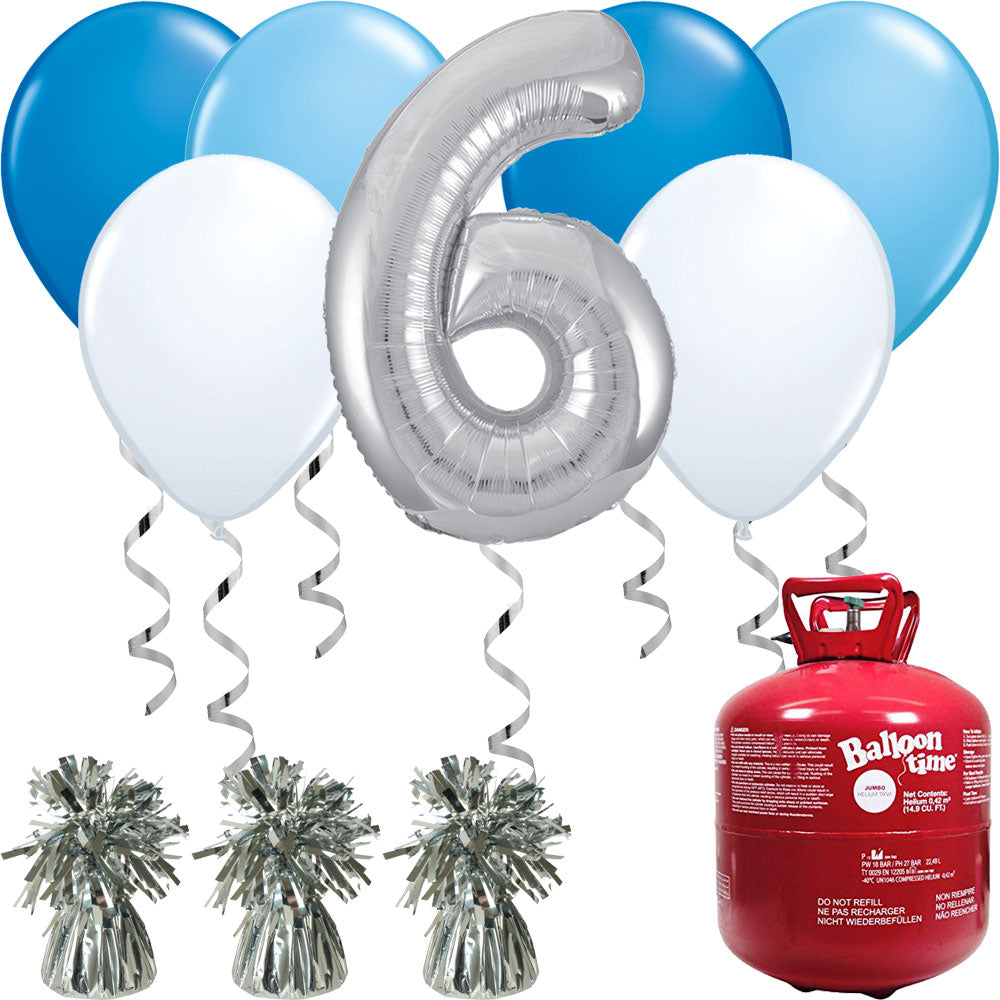Happy Birthday Blue and Silver Balloons And Helium Gas Canister Pack