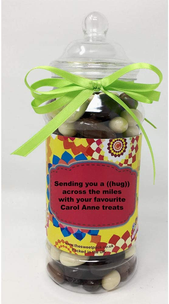 The Sweet Pack® Carol Anne Milk & Dark Chocolate and Yoghurt Coated Fruit & Nut in a Victorian Gift Jar with Ribbon (Hug Across The Miles)
