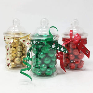 Christmas Coloured Chocolate Balls in Mini Victorian Jars with Christmas Ribbon