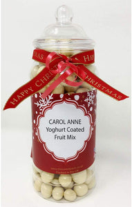 Carol Anne Yoghurt Covered Fruit Mix in a Victorian Gift Jar with Ribbon