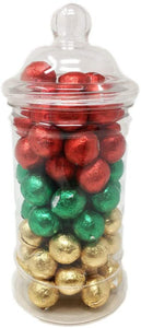 Mixed Christmas Coloured Chocolate Balls in a Jar