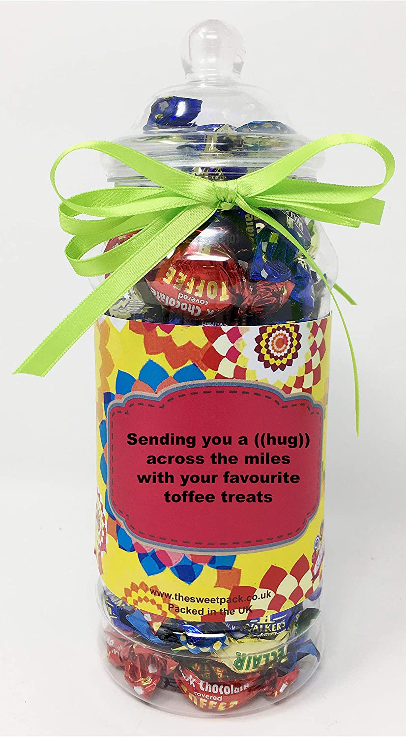 The Sweet Pack® Walkers Assorted Toffees and Eclairs in a Victorian Gift Jar with Ribbon (Hug Across The Miles)