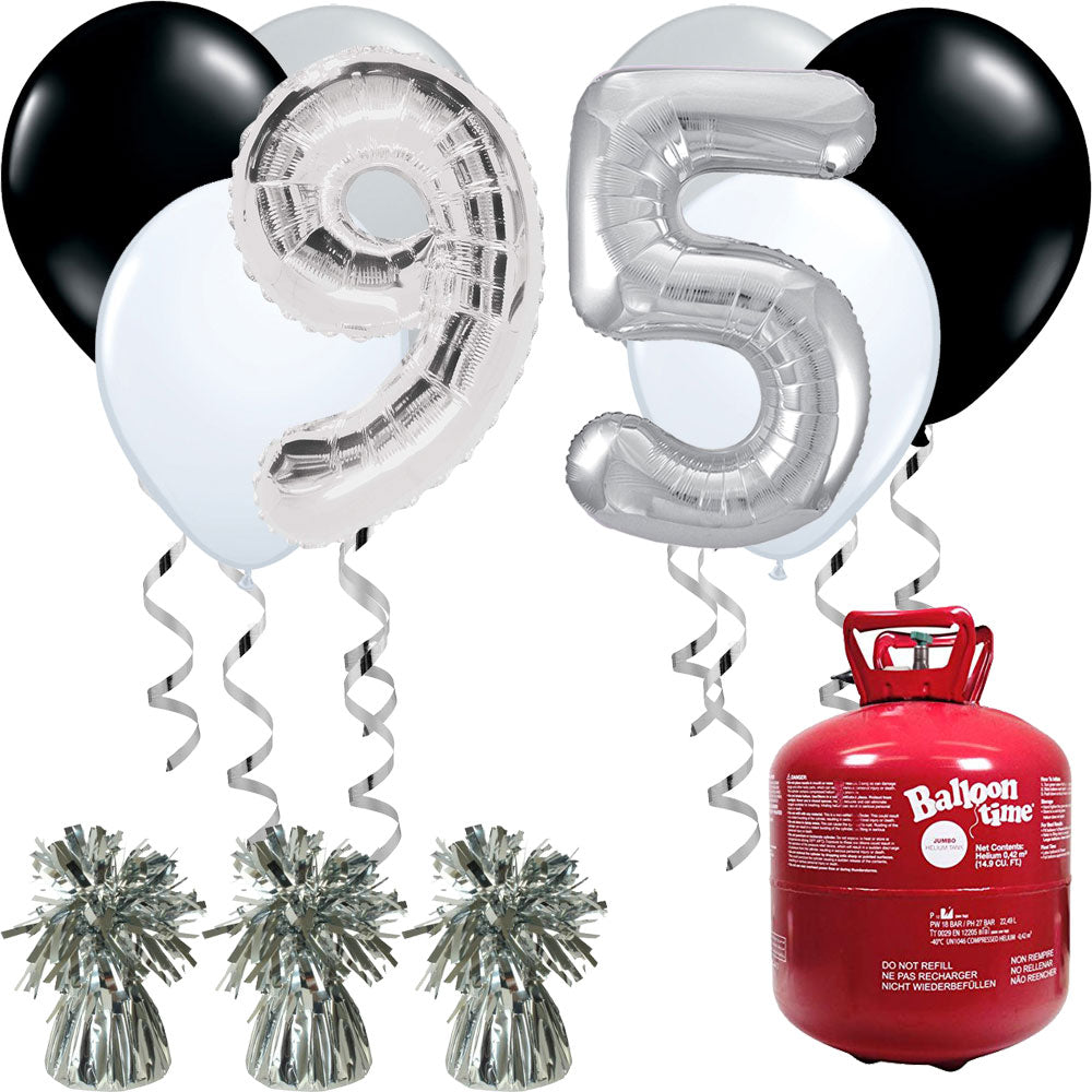 Happy Birthday Silver and Black Balloons And Helium Gas Canister Pack