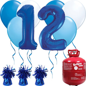 Happy Birthday Blue Balloons And Helium Gas Canister Pack