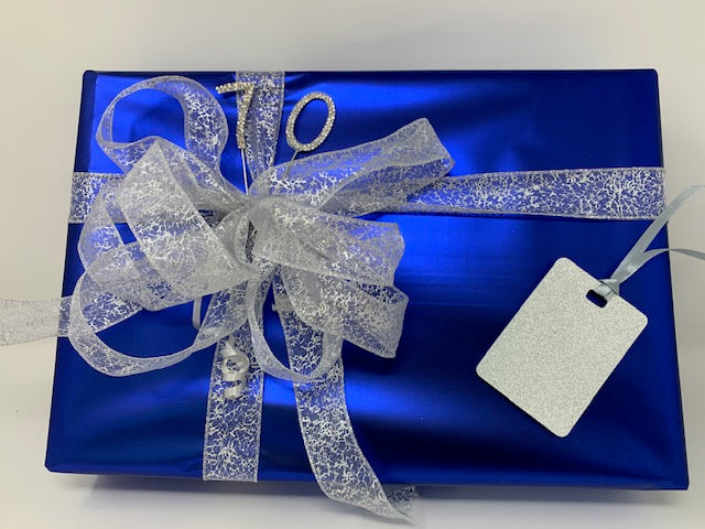 Royal Blue Wrap and Silver Print Ribbon and Bow Pack