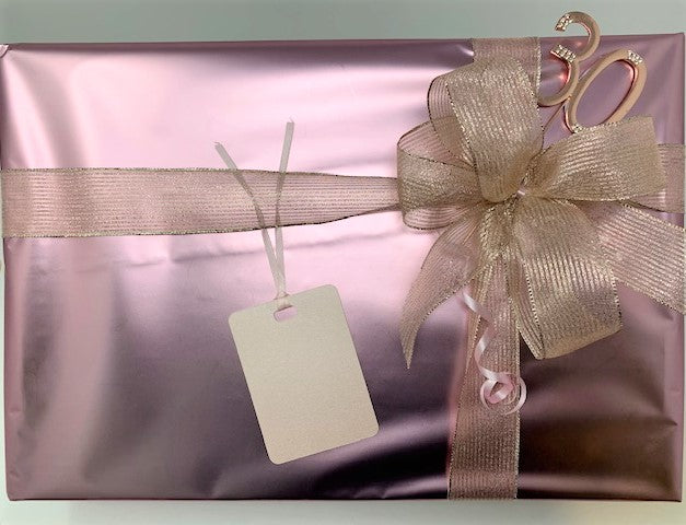 Rose Gold Wrap and Rose Gold Stripe Ribbon and Bow Pack