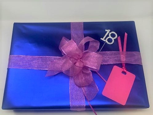 Royal Blue and Pink Ribbon Wrapping Paper Pack