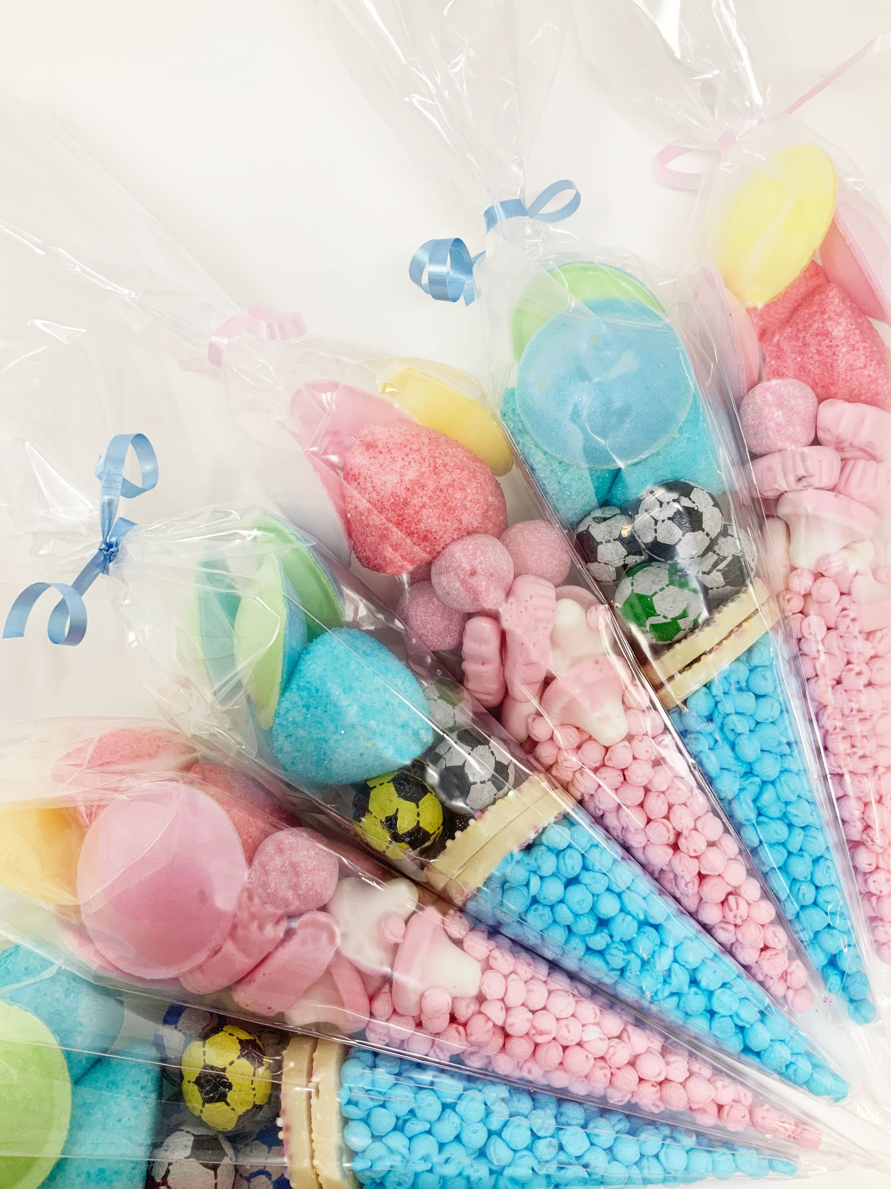 Pre Filled Pink and Blue Assorted Sweet Cone Mix